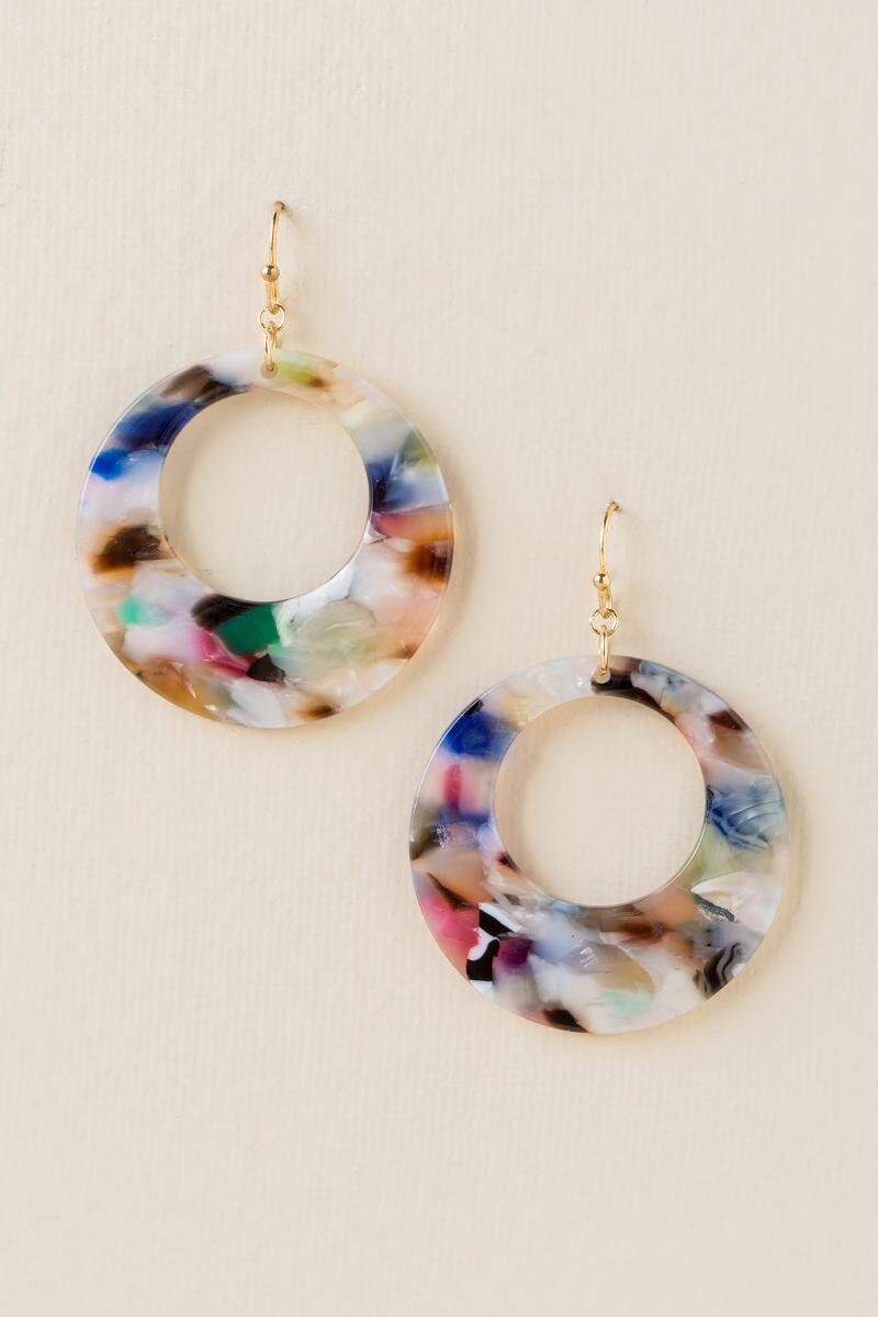 Cianna Marbled Resin Earrings- Multi