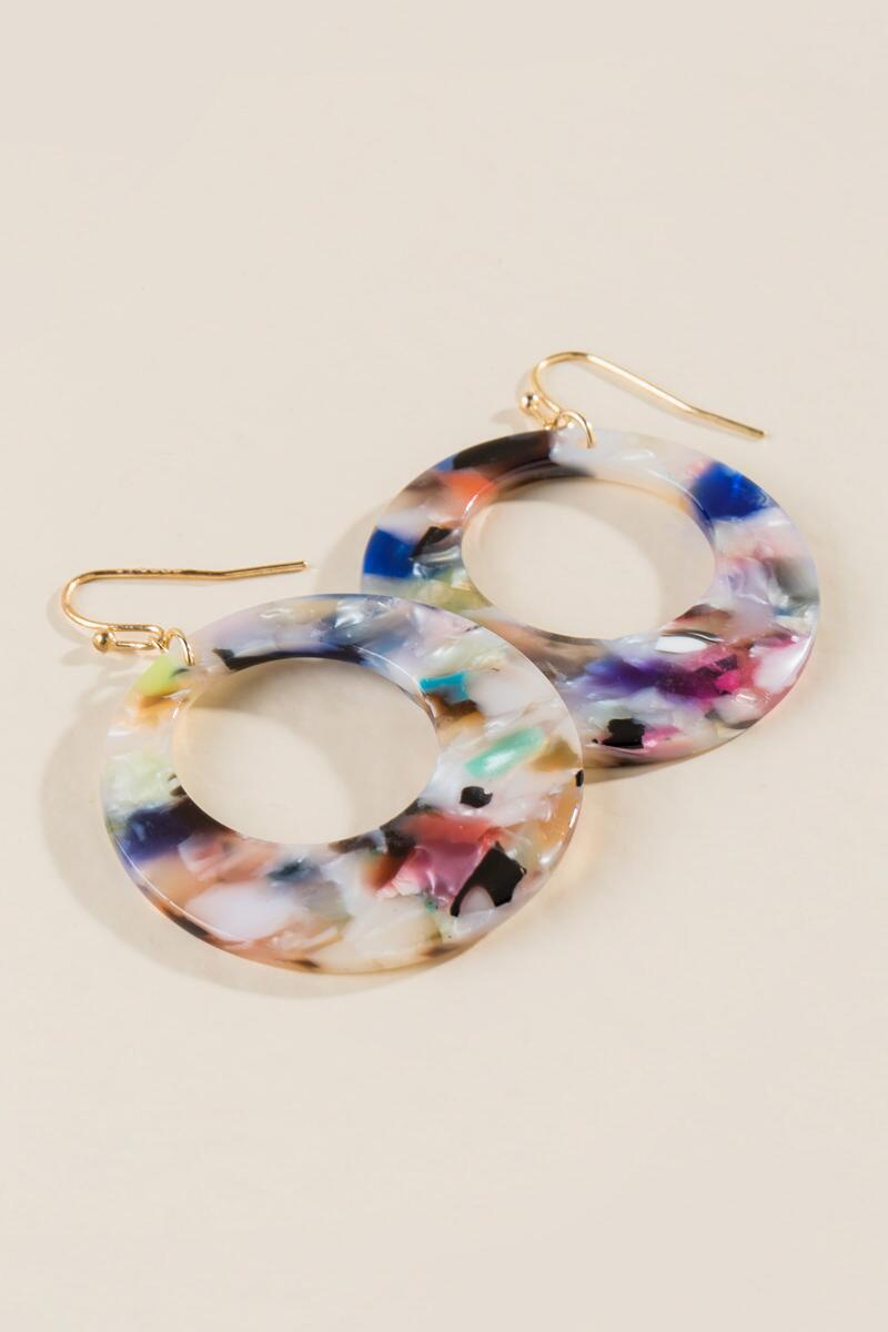Cianna Marbled Resin Earrings- Multi alternate