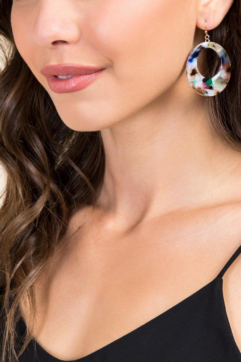 Cianna Marbled Resin Earrings- Multi model