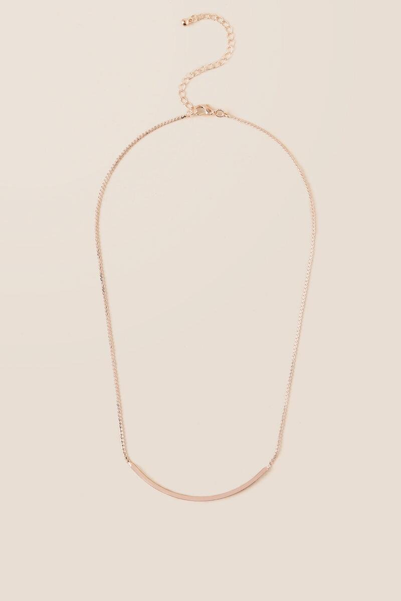 Venetia Curved Bar Necklace in Rose Gold