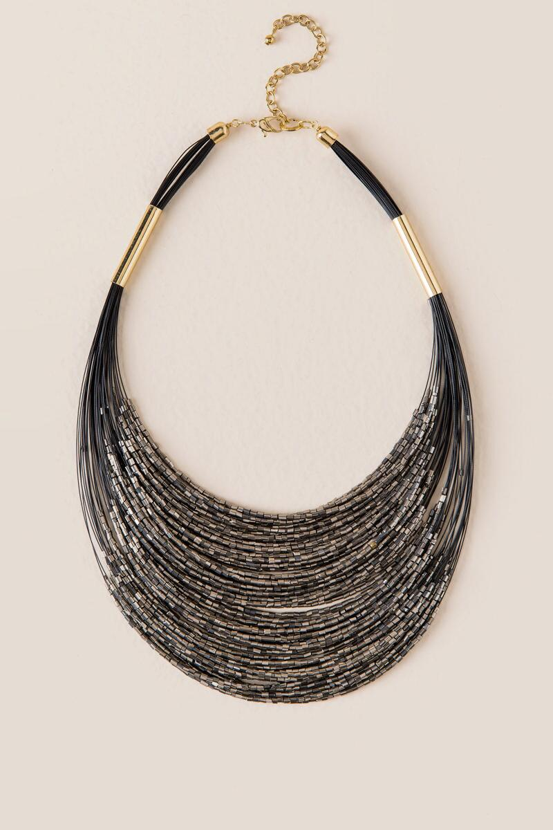 Quinn Metallic Bead Layered Necklace