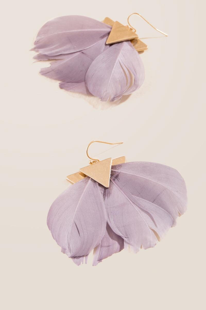 Astoria Feather Earrings-  gray-cl
