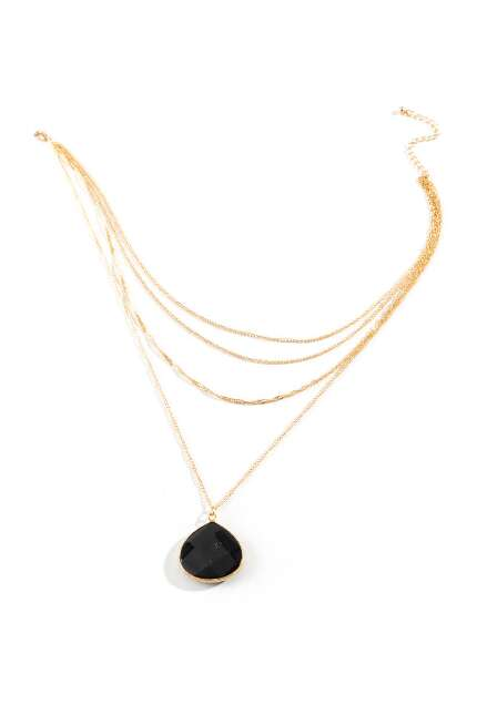 Ashanti Quartz Drop Multi-Strand Necklace in Black