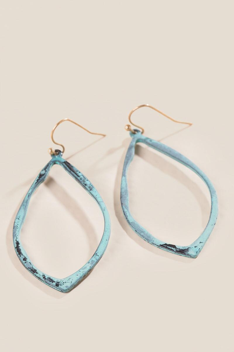 Laurel Patina Teardrop Earrings-  turq-cl