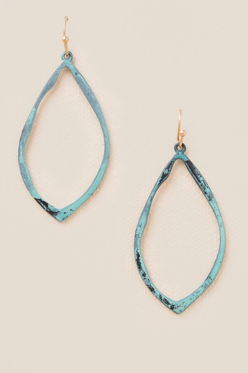 Laurel Patina Teardrop Earrings-  turq-clalternate
