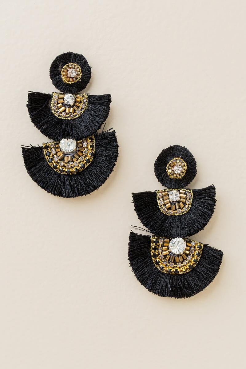 Jessica Fan Statement Earrings In Black-  blk-cl