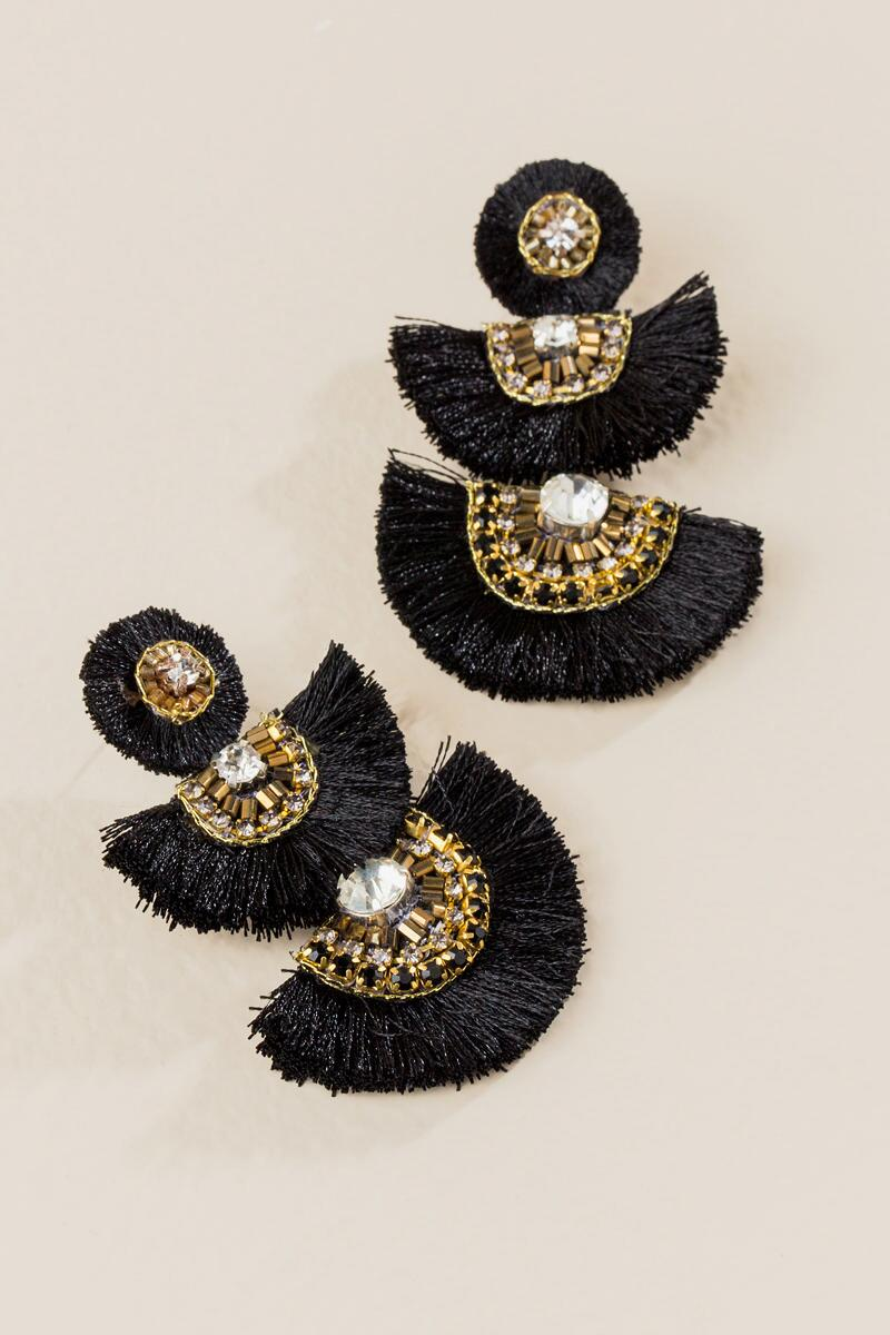 Jessica Fan Statement Earrings In Black-  blk-clalternate
