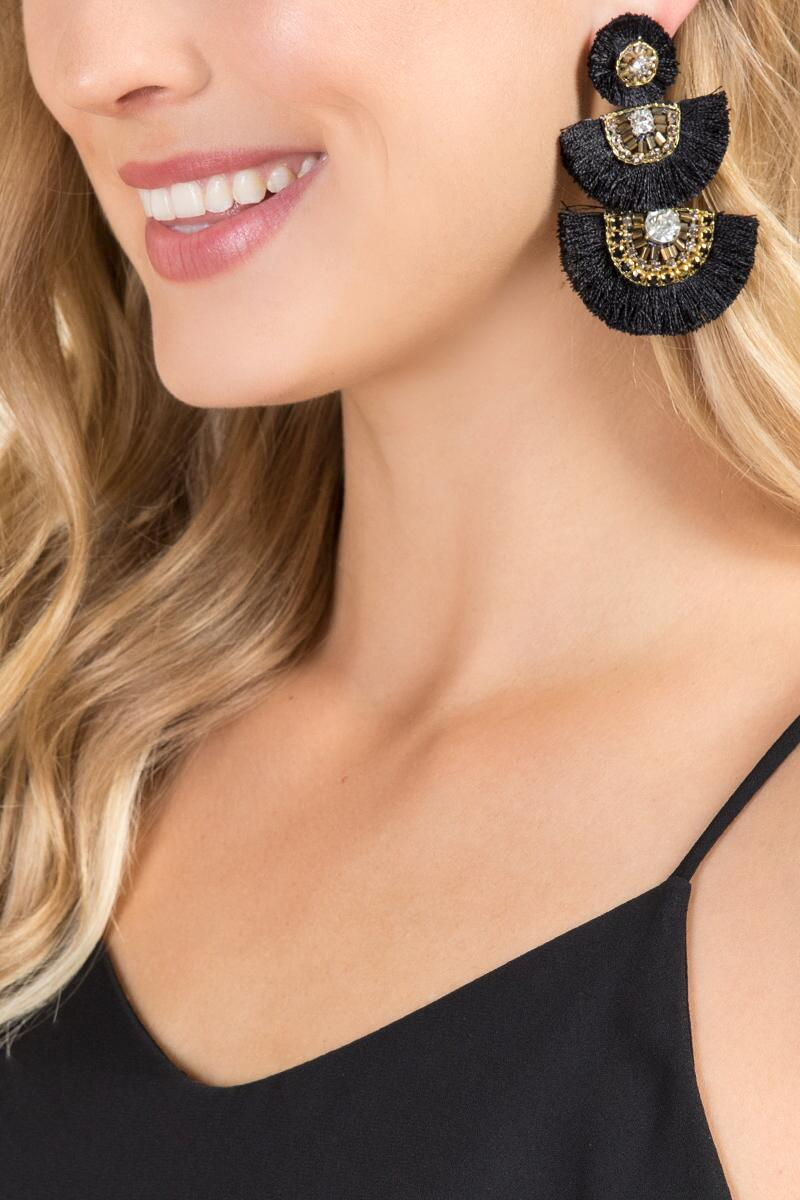 Jessica Fan Statement Earrings In Black-  blk-clmodel