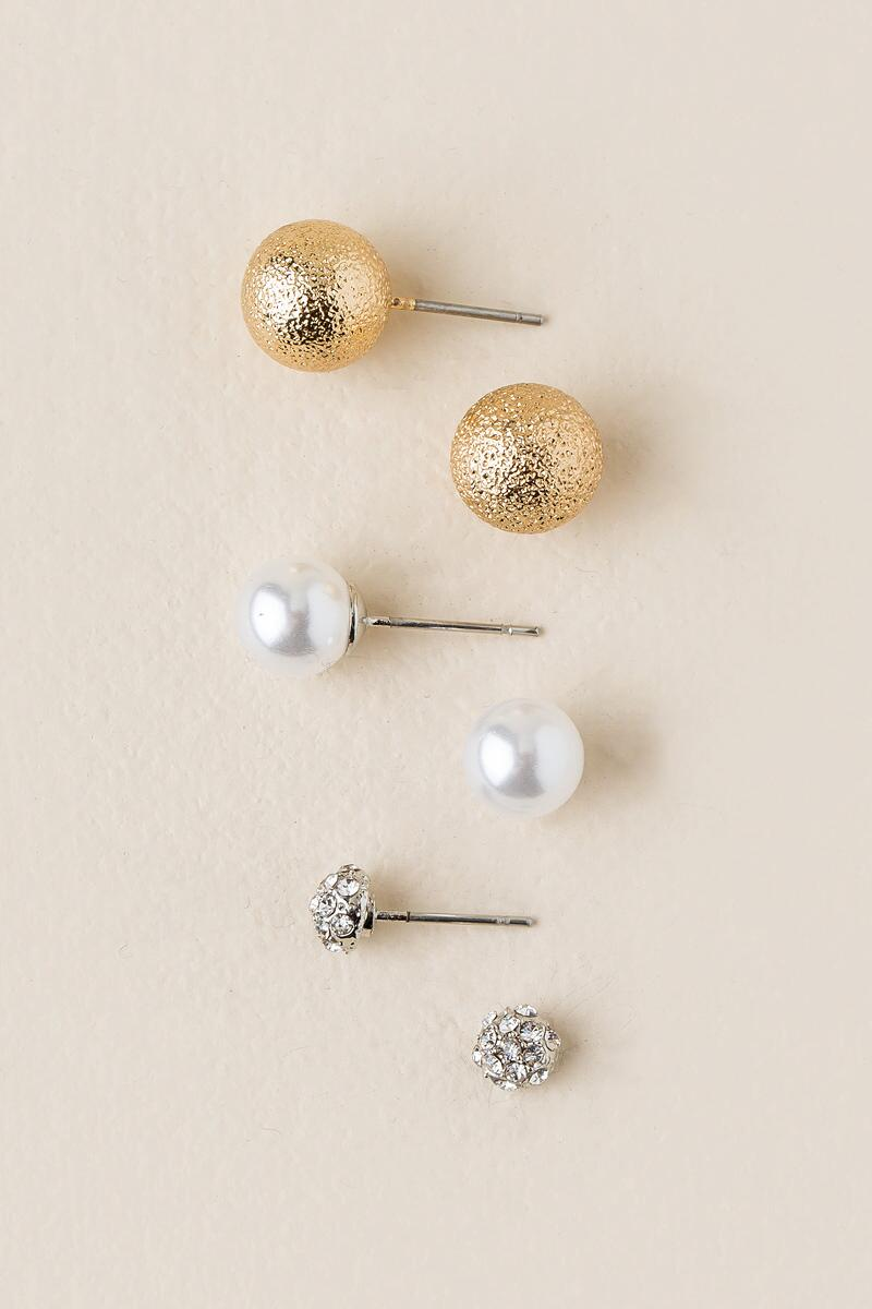 Violet Ball Stud Earring Set