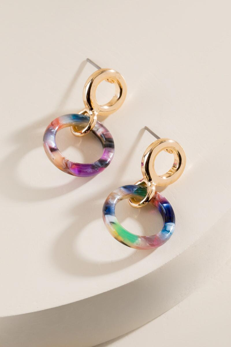 Kingsley Marbled Resin Earrings in Multi