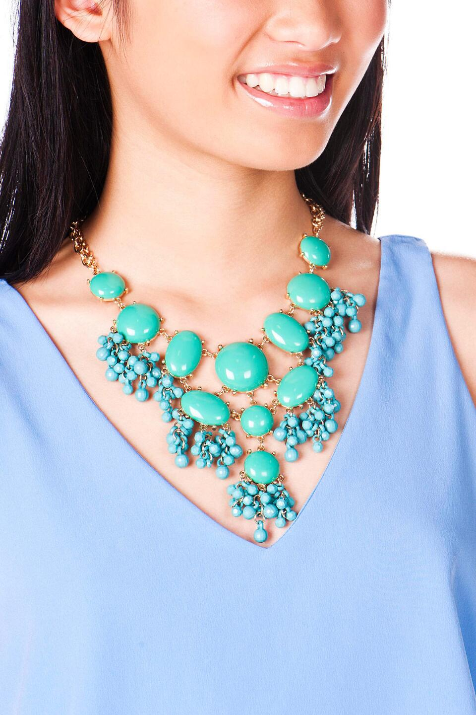 Corfu Island Beaded Statement Necklace in Green-  grn-clmodel