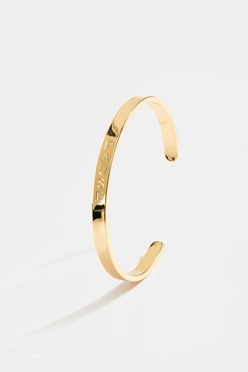 Pause Engraved Cuff-  gold-cl3