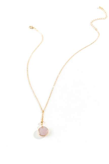 Karen Circle Drop Pendant Necklace in Pink