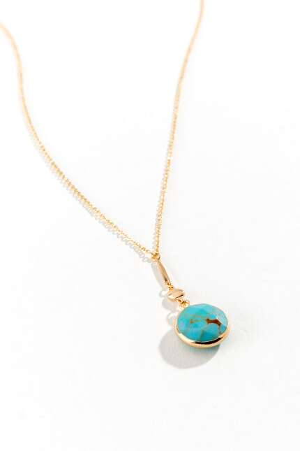 Karen Circle Drop Pendant Necklace in Turquoise