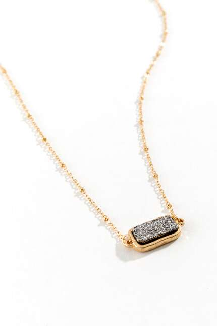 Eloise Druzy Bar Necklace in Silver
