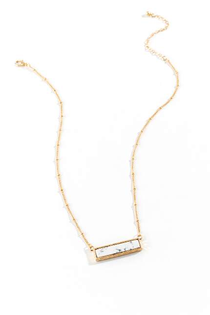 Iris Horizontal Bar Pendant Necklace in White