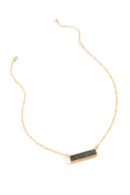 Iris Horizontal Bar Pendant Necklace in Gray