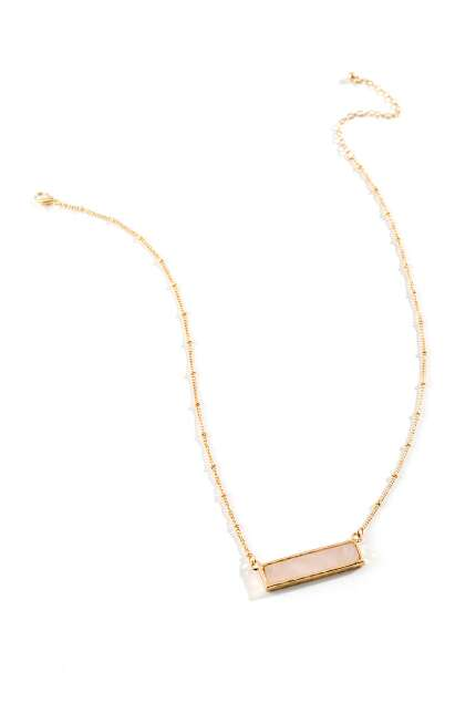 Iris Horizontal Bar Pendant Necklace in Pink