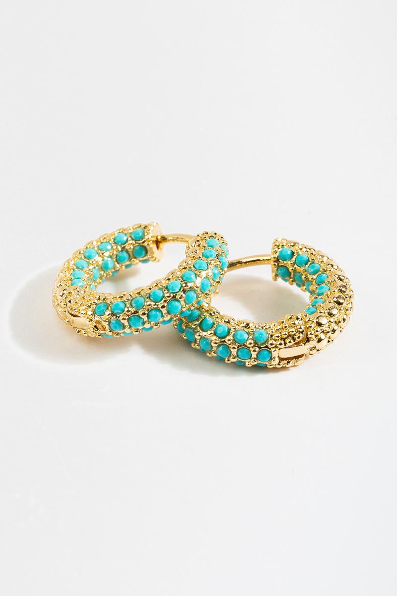 Collette Pavé Turquoise Huggie Hoops-Turquoise