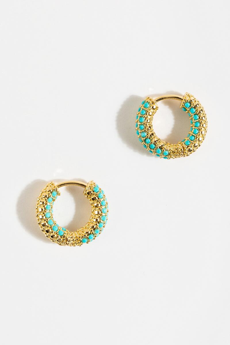 Collette Pavé Turquoise Huggie Hoops-Turquoise 3