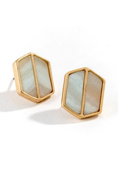 Raelyn Hexagon Studs