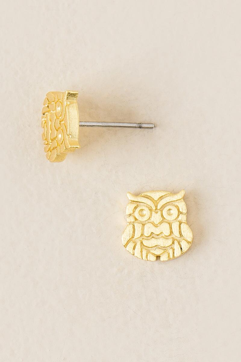 Brushed Brass Owl Stud Earring