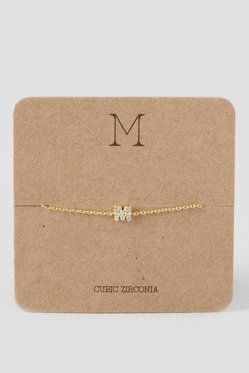 'M' Initial Delicate Bracelet-  cry-cl