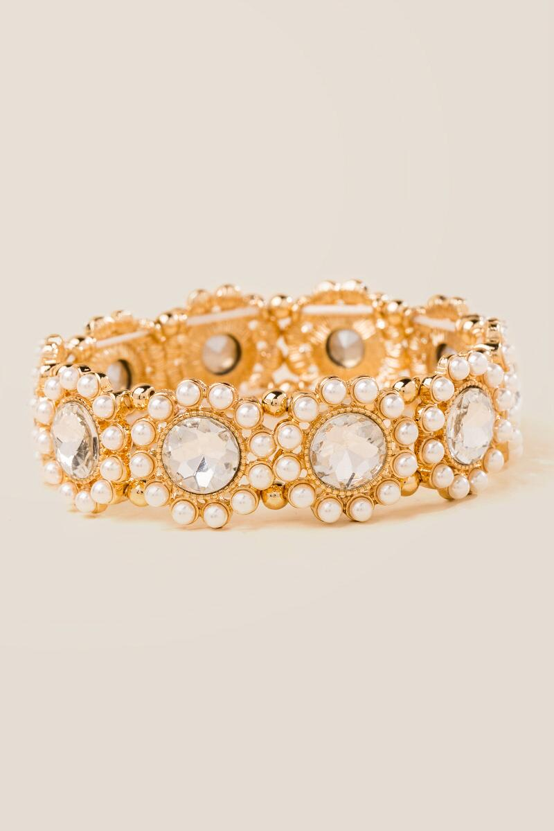 Marie Crystal Pearl Stretch Bracelet