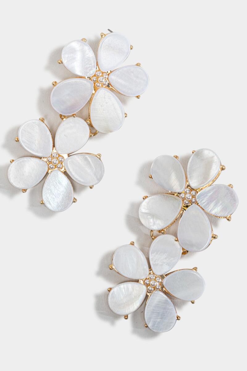 Lucille Floral Shell Statement Earrings-  white-cl