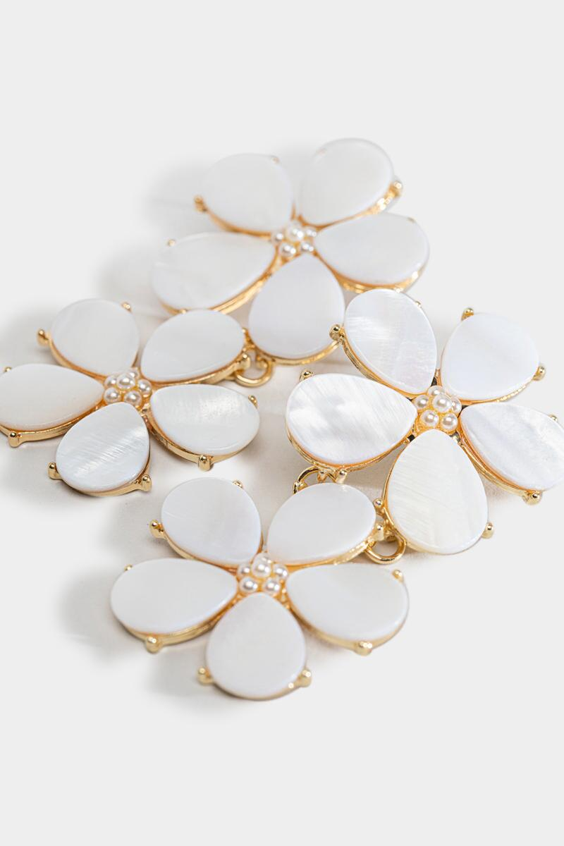 Lucille Floral Shell Statement Earrings-  white-cl3
