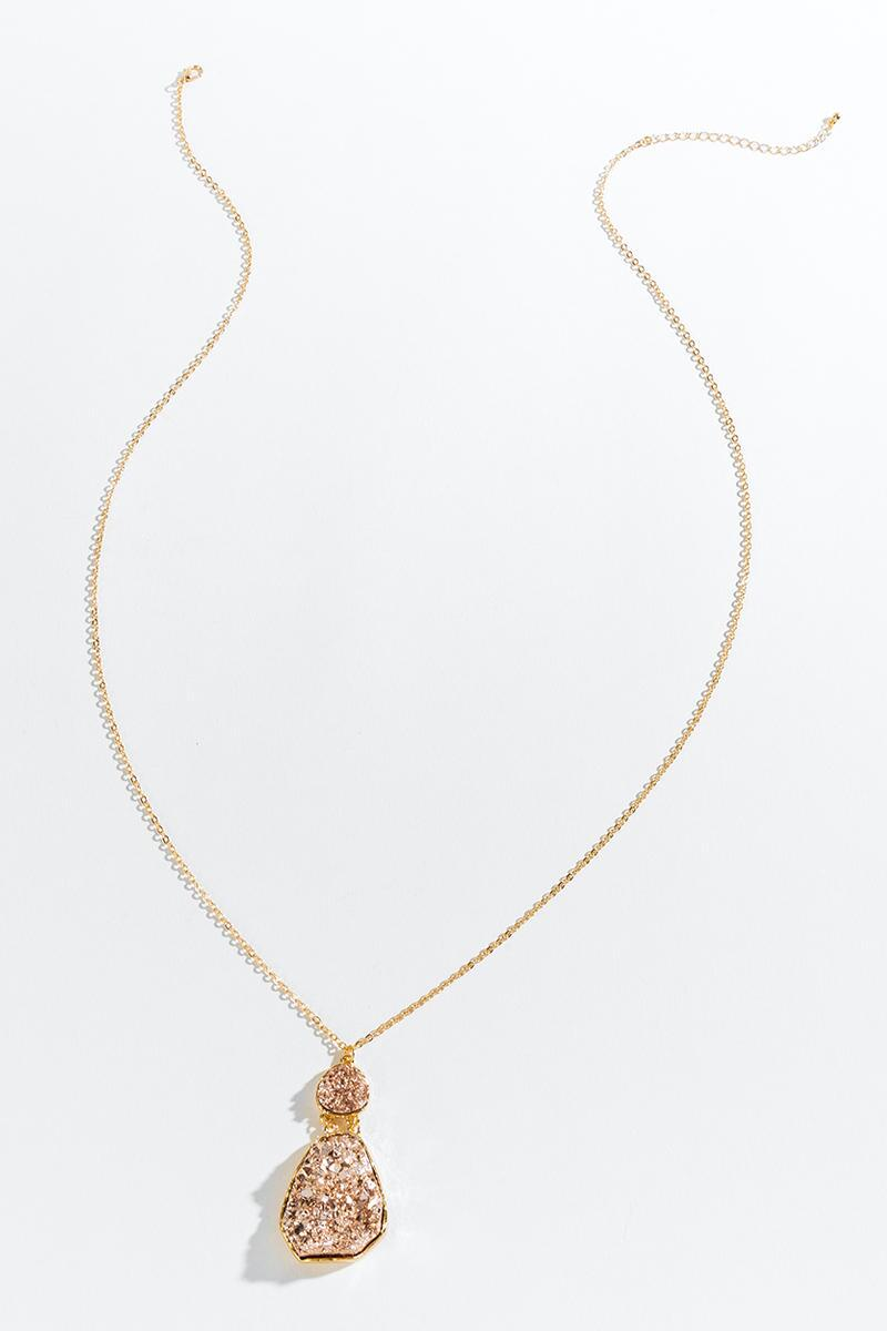 Brooke Druzy Pendant Necklace- Rose/Gold 3