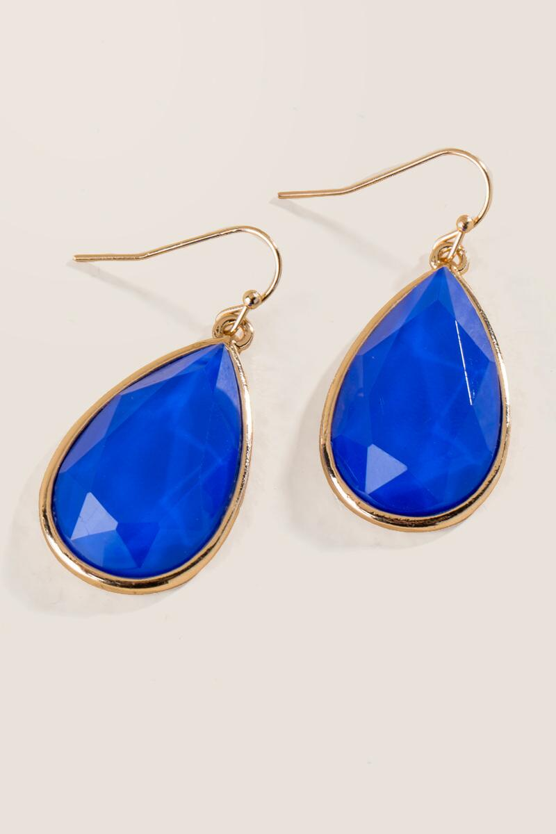Game Day Teardrop Earring in Blue-  blue-clalternate