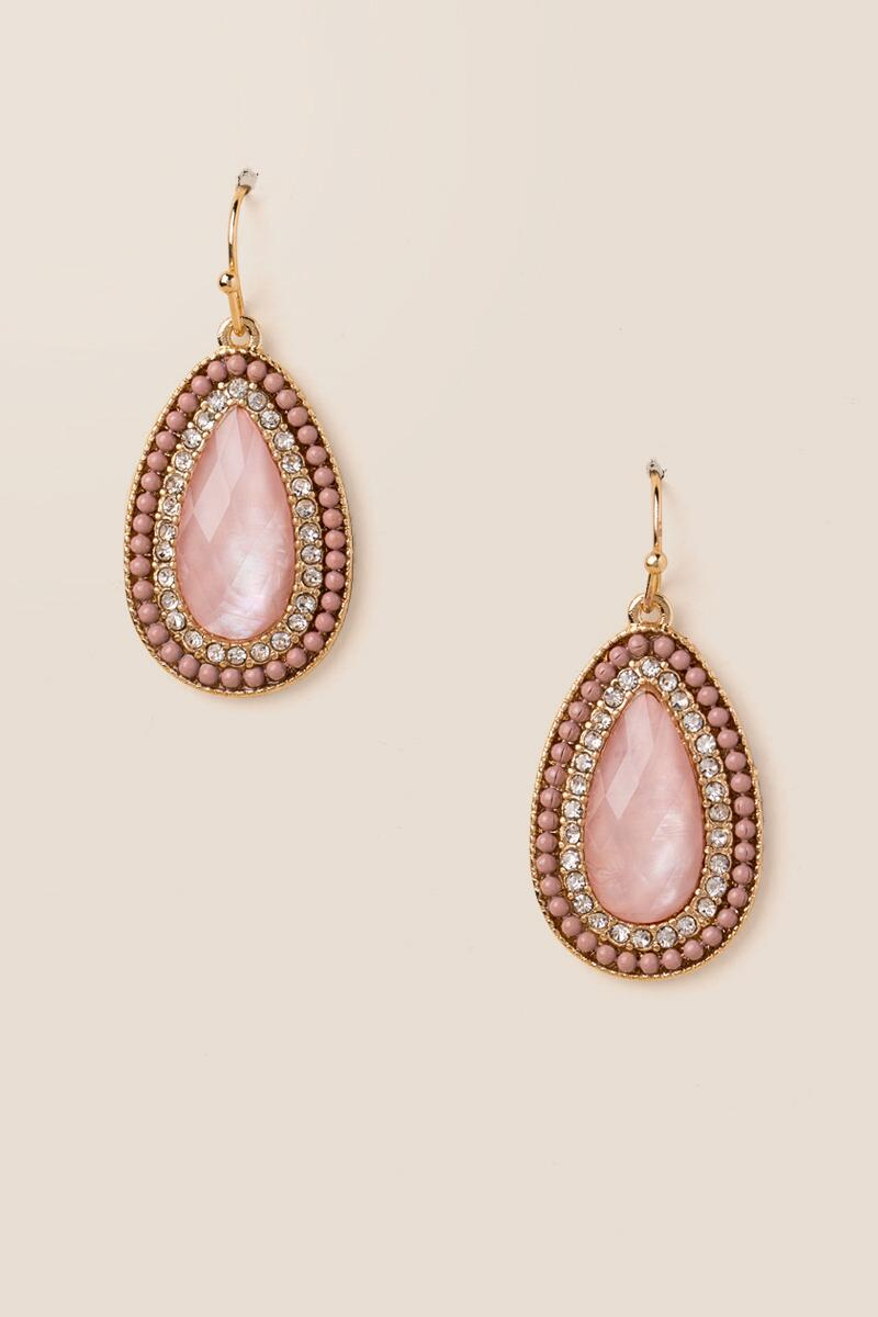 Leslie Ball Trim Drop Earrings In Pink-  ppink-cl