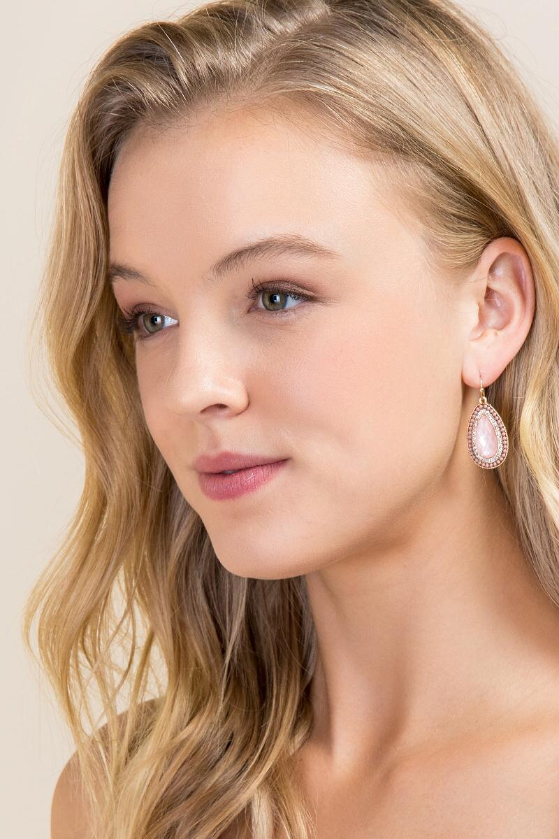 Leslie Ball Trim Drop Earrings In Pink-  ppink-clmodel