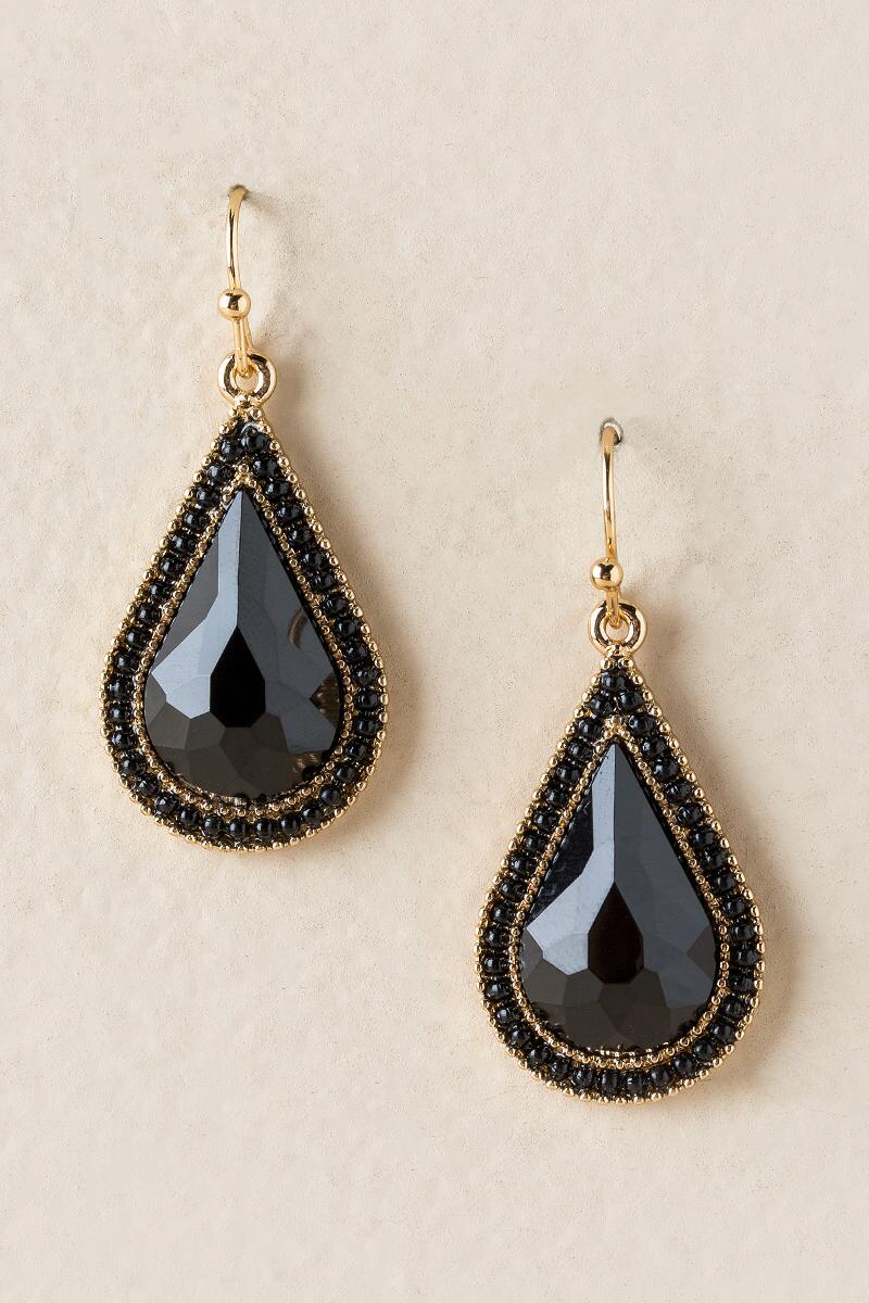 Leith Trim Teardrop Earrings In Black-  blk-cl