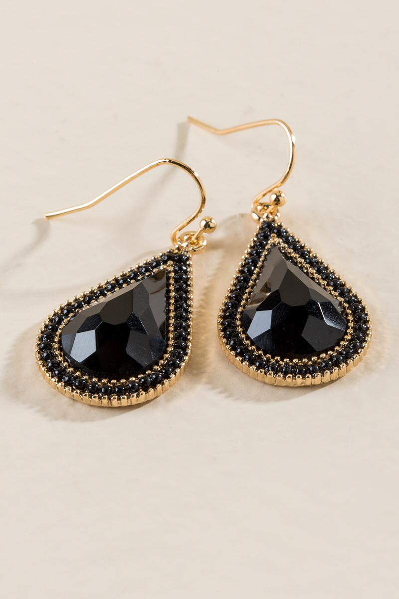Leith Trim Teardrop Earrings In Black-  blk-clalternate
