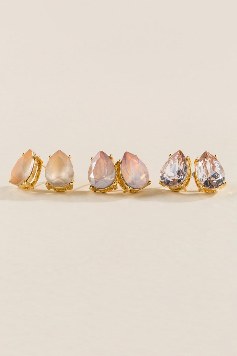 Nela Pink Crystal Stud Set-  blush-cl