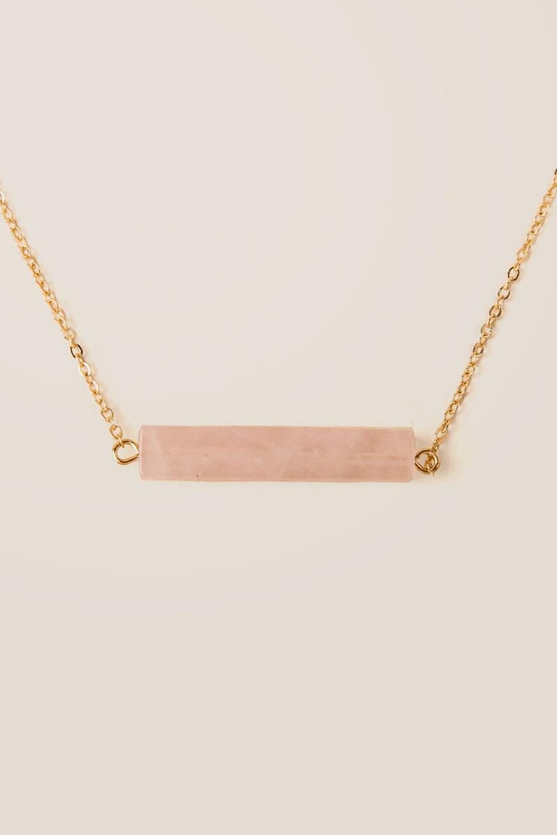 Geneva Rose Quartz Bar Pendant
