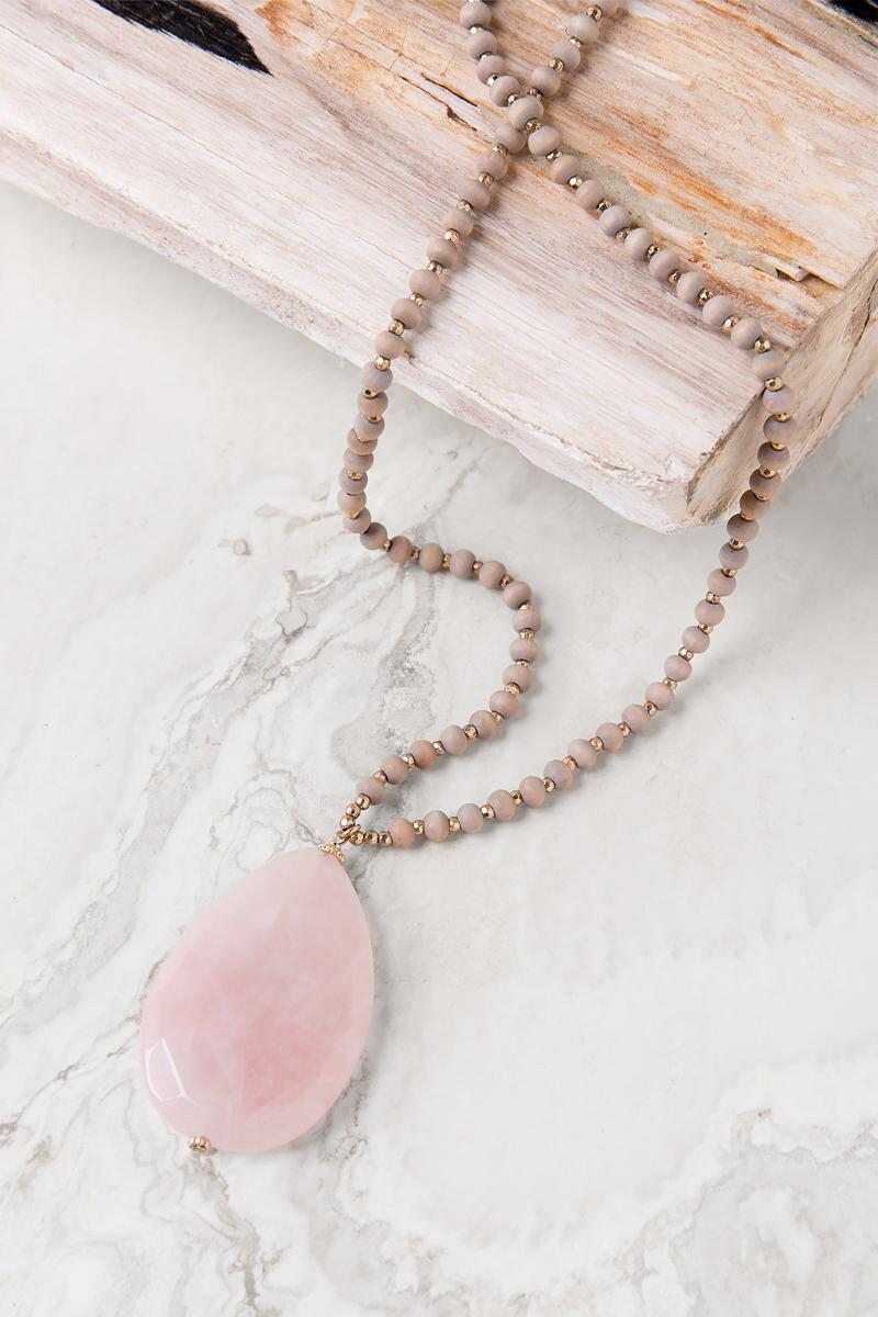 Luxe Collection Stone Pendant Necklace in Rose Quartz