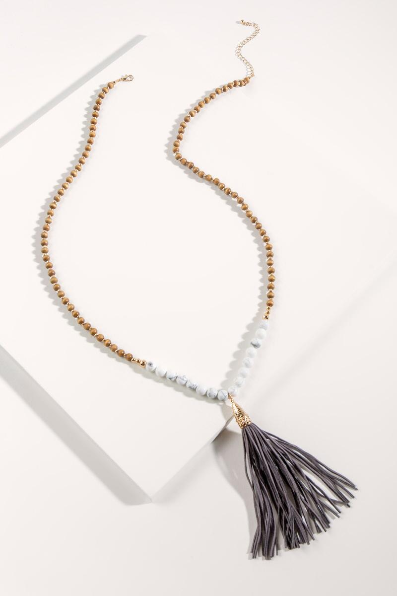 Janelle Leather Tassel Necklace- Brown