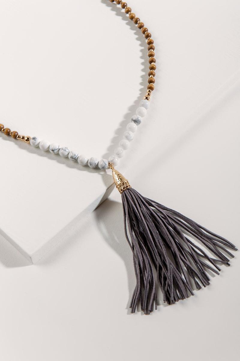 Janelle Leather Tassel Necklace- Brown 2