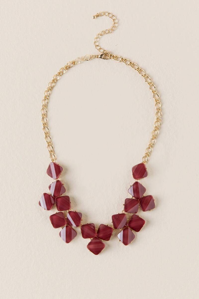Dayson Textured Statement Necklace in Burgundy-  burg-cl