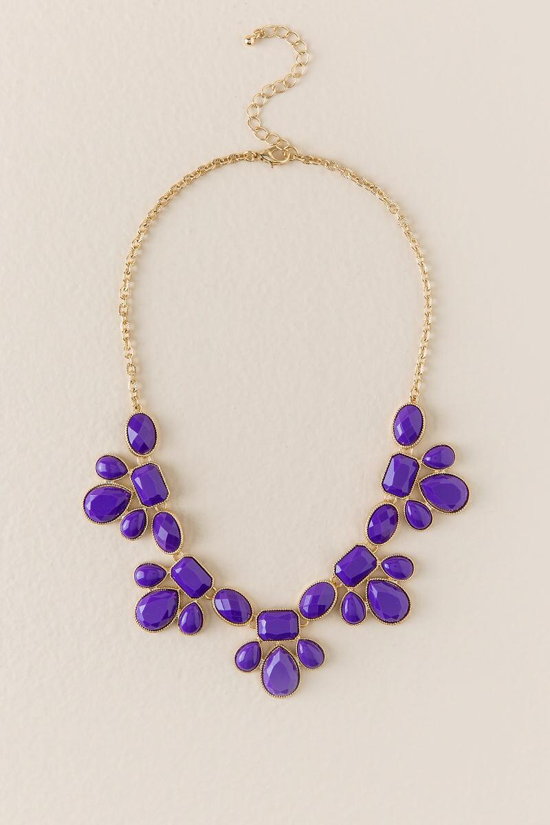Game Day Teardrop Statement Necklace in Purple-  purp-cl
