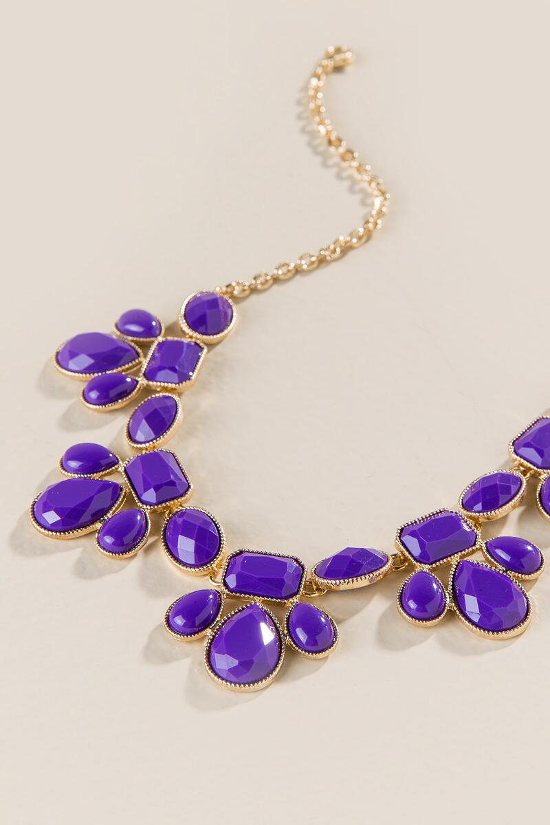 Game Day Teardrop Statement Necklace in Purple-  purp-clalternate