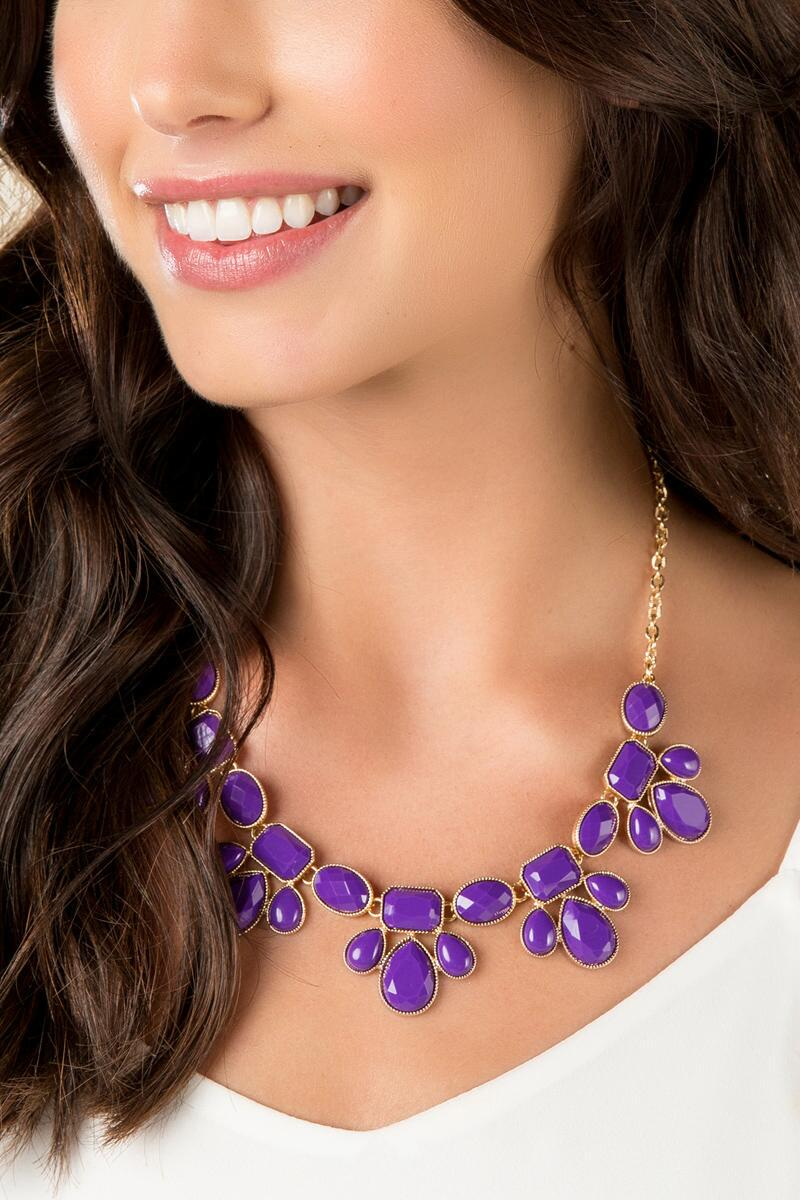 Game Day Teardrop Statement Necklace in Purple-  purp-clmodel