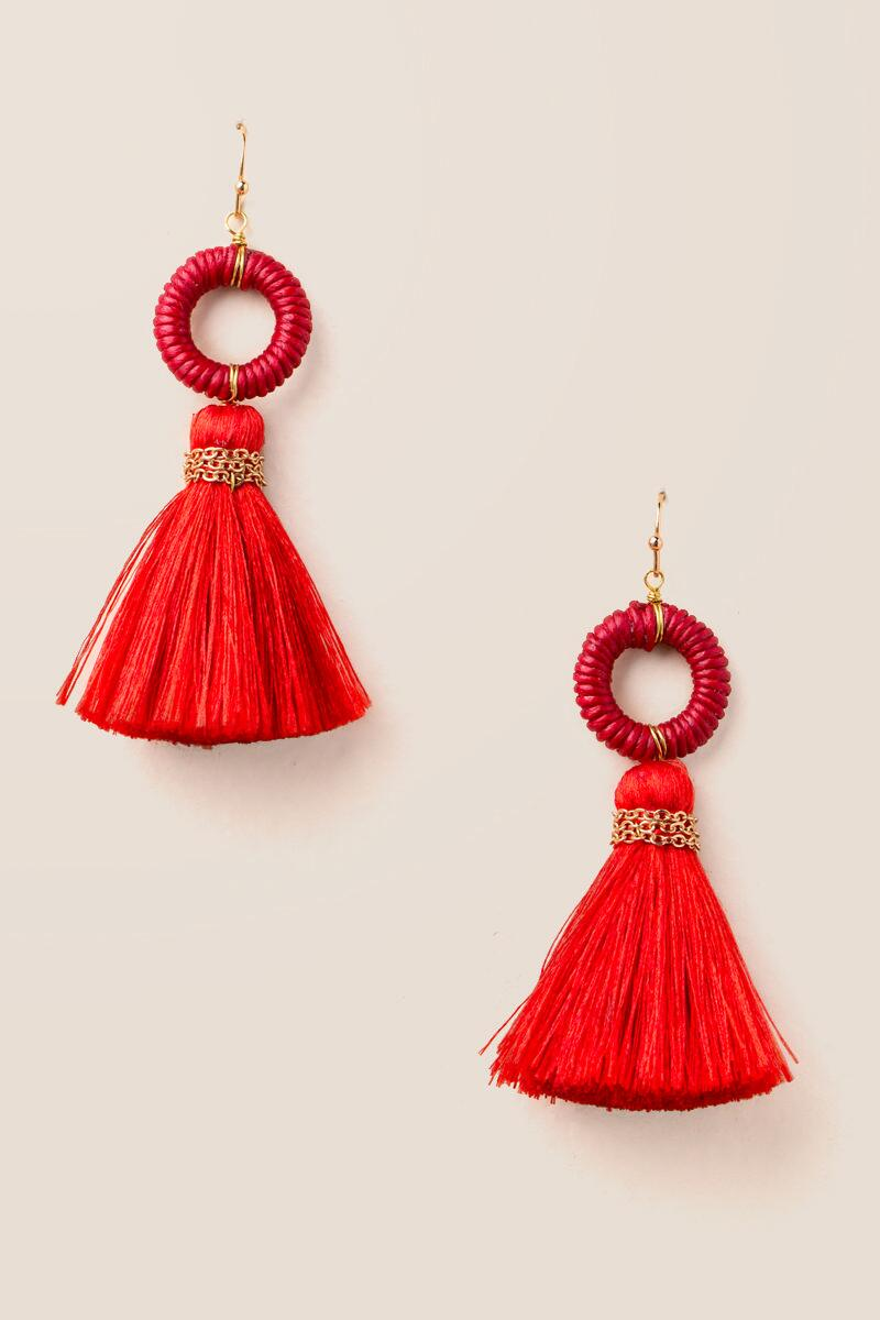 Arden Circle Tassel Earrings In Red-  red-cl