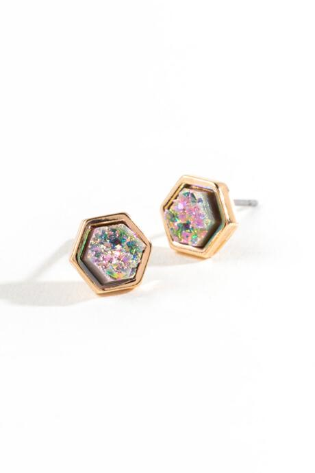 Brenna Hexagon Druzy Studs