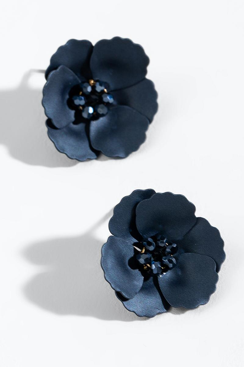 Juliana Matte Floral Studs in Navy