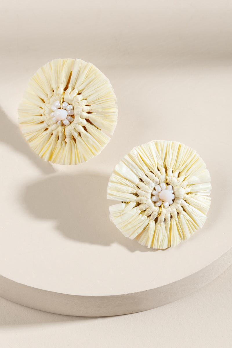 Vienna Raffia Statement Studs in Ivory