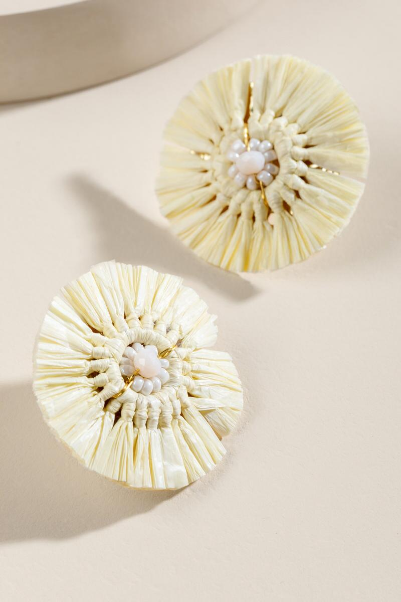 Vienna Raffia Statement Studs in Ivory-  ivry-cl2